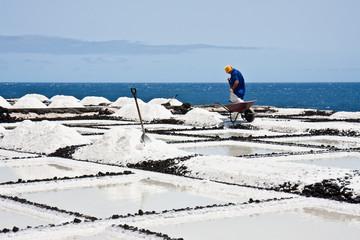 Worker at salt extraction La Palma