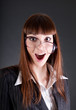 Funny businesswoman in old fashioned glasses