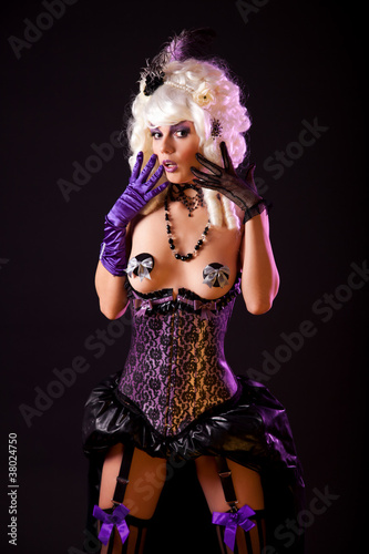 Surprised woman in burlesque outfit