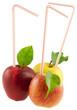 concept pommes à boire sur fond blanc
