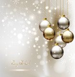 elegant glimmered Christmas background with evening balls poster