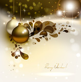 glimmered Christmas background with evening balls poster