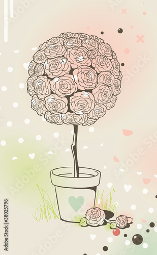 Lovely rose tree in pot. Romantic valentine card