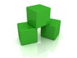 green building blocks cubes on white background