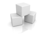 stack of white construction blocks or cubes