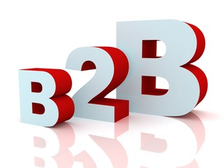 3d b2b red and blue letters on white background