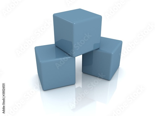 Blue construction building blocks tower stack