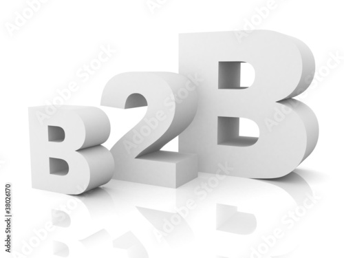 business to business b2b white text concept