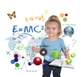 Young Math Science Girl Genius Writing poster