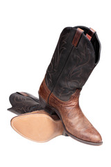 Cowboy boots isolated over white with clipping path