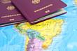 Reisepässe auf Südamerika