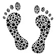 Circular dot footprints vector illustration.
