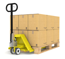 Pallet Truck/Jack and a Pallet With Cardboard Boxes