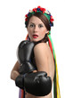 Frightened woman with boxing gloves