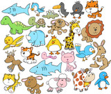 Fototapety Cute Animal Vector Design Elements Set