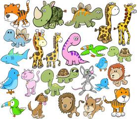 Cute Animal Vector Design Elements Set