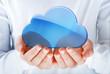 Leinwanddruck Bild - hands exhibiting the cloud computing symbol