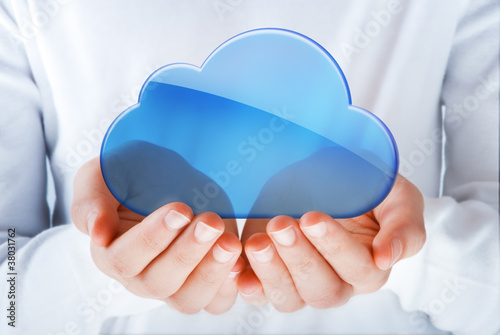 Leinwanddruck Bild hands exhibiting the cloud computing symbol