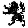 Black heraldic lion