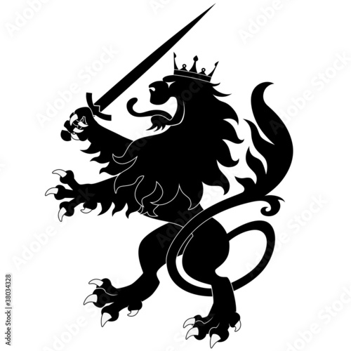Black heraldic lion with sword