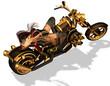 sexy Bikerin in lasziver pose auf einem motorrad