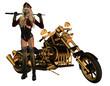 sexy Frau im Motorradkleidung mit Motorrad