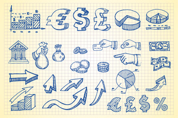Hand-drawn currency illustration set 3