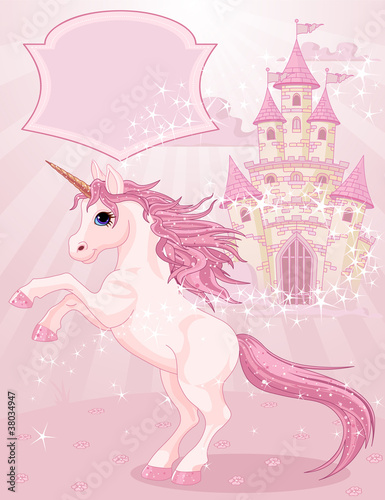 Poster Pony Fairy Tale Castle and Unicorn
