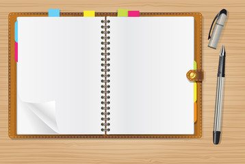 open diary and a pen