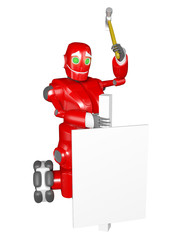 The red robot drives a white board