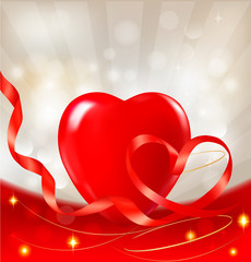 Valentine`s day background. Red heart with ribbons.