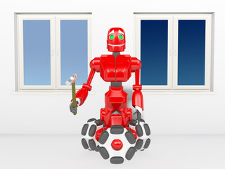 The red robot inserts the window
