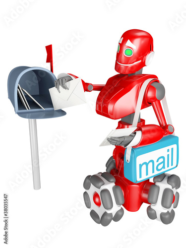 The red robot delivers the mail
