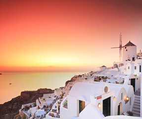 A village on Santorini island, Greece at sunset