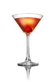 Red martini cocktail isolated on white