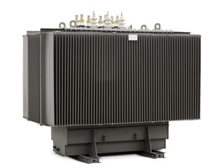 high-voltage transformer on a white background