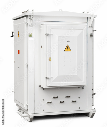 high-voltage transformer on a white background