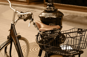 Classic bicycle on a city street
