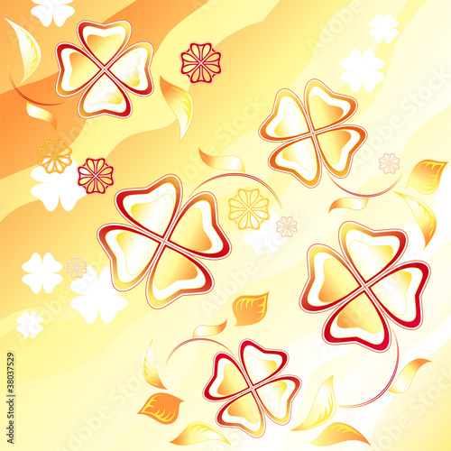 Abstract yellow background. Flying flowers