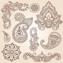 Henna Mehndi Doodles Paisley Design Elements