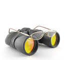 Optical glasses on the binoculars poster
