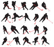 20 detail ice hockey poses in silhouette