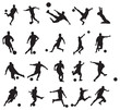 20 soccer poses silhouette.