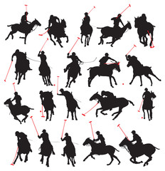 20 details polo player in isolated silhouette