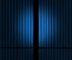 Introducing on a blue curtain stage