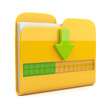 Yellow folder 3D icon. Date downloading concept. Isolated on whi