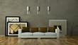 Wohndesign - Sofa vor Kamin braun