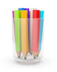 Many colorful pencils in the glass cup. 3D isolated on white bac
