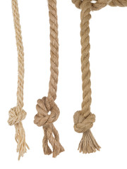 ship ropes with knot on white