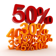 3D percent numbers on white background